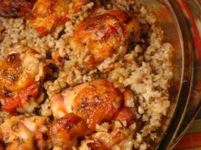 куриные ножки в духовке с гречкой рецепт с фото
