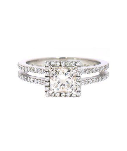 Irina Ferry Platinum Emerald Cut Diamond Engagement Ring