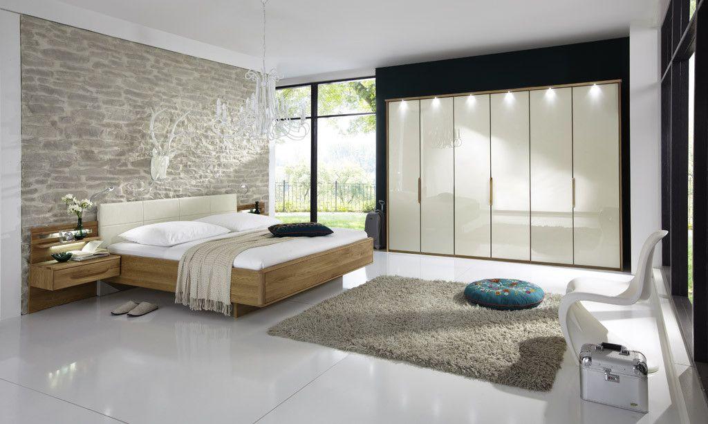 Schlafzimmer Mit Bett 180 X 200 Cm Magnolie Glas/ Eiche