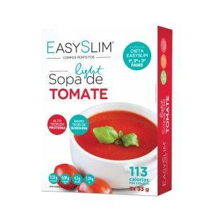 EasySlim Sopa Light de Tomate  é uma sopa hiperproteica, com apenas 113 calorias, sendo uma alternativa práctica e saudável como complemento de uma refeição principal.