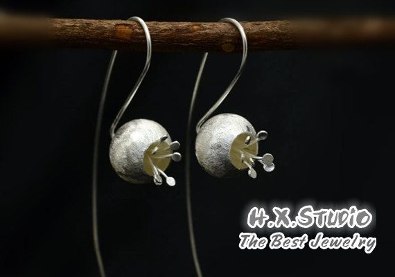 Silver Flower Earring, 925 Silver Ear Studs, Teenage, Valentine, Bridesmaid, Bridal, Wedding, Christmas, Gift