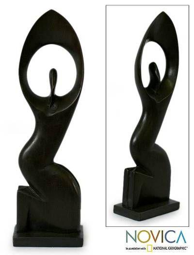 Ebony woman statue of woman wood sculpture by dimitri sonkeng