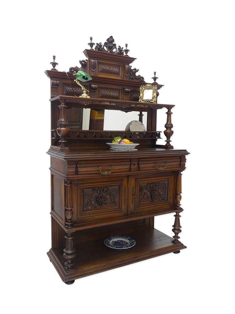 anrichte mit aufsatz kommode schrank kredenz gr nderzeit um 1880 nussbaum 5217 gr nderzeit. Black Bedroom Furniture Sets. Home Design Ideas