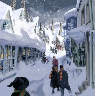 An illustration of a snowy Hogsmeade and the exterior of the Three Broomsticks. Hogsmeade's popular pub, staffed by Madame Rosmerta. Harry Potter