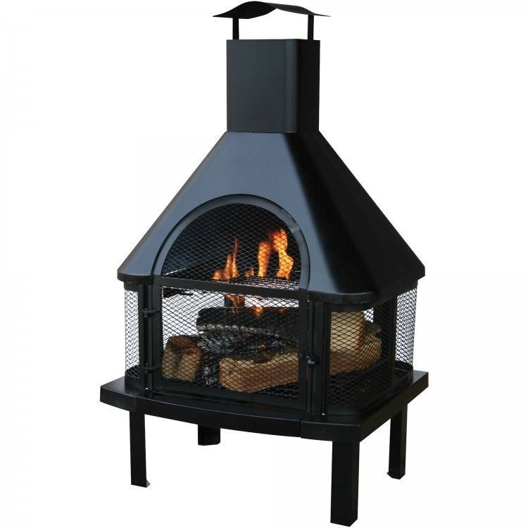 Wood Burning Fire Pit Outdoor Chiminea Cooking Grate Steel Door Black Patio  Yard