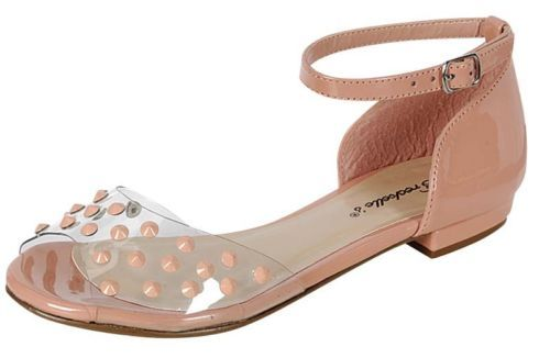 New Blush Spikes Studs Slip On Shoes Sandals Flip Flops Gladiator Open Toe