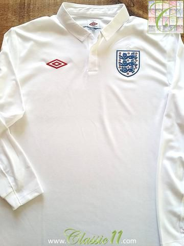 Relive England S 2009 2010 International Season With This Original Umbro Home Long Sleeve Footba Classic Football Shirts England Football Shirt Football Shirts