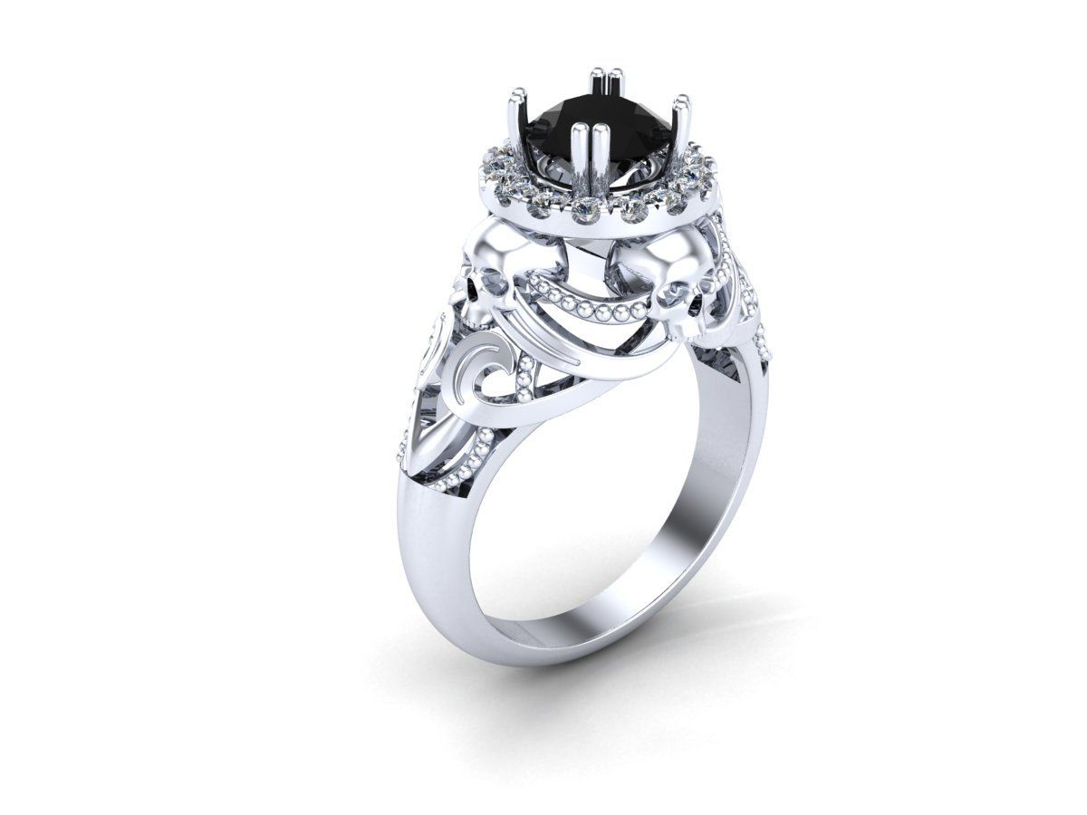 Fashion · Skull Engagement Ring In Silver And Dragon Platinum Black Diamond  Created Center