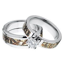 His And Her S Matching Mossy Oak Duck Blind Camo Wedding Ring Set