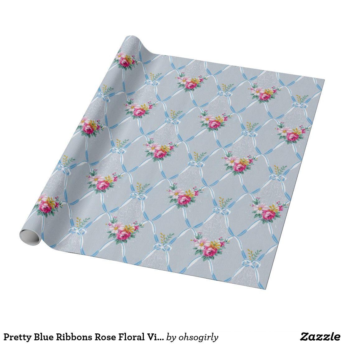 Pretty blue damask patter wrapping paper   Zazzle.com ...  Pretty Blue Paper