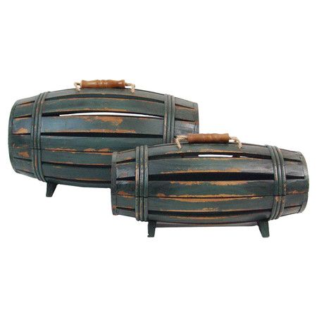 Set of two wood barrel-inspired wine boxes with antiqued green finishes.   Product: Small and large wine boxConstruction M...