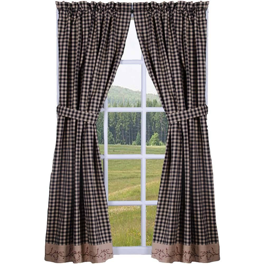 Berry Vine Check Lined Curtain Panels Red Or Black Lined Curtains Panel Curtains Curtains
