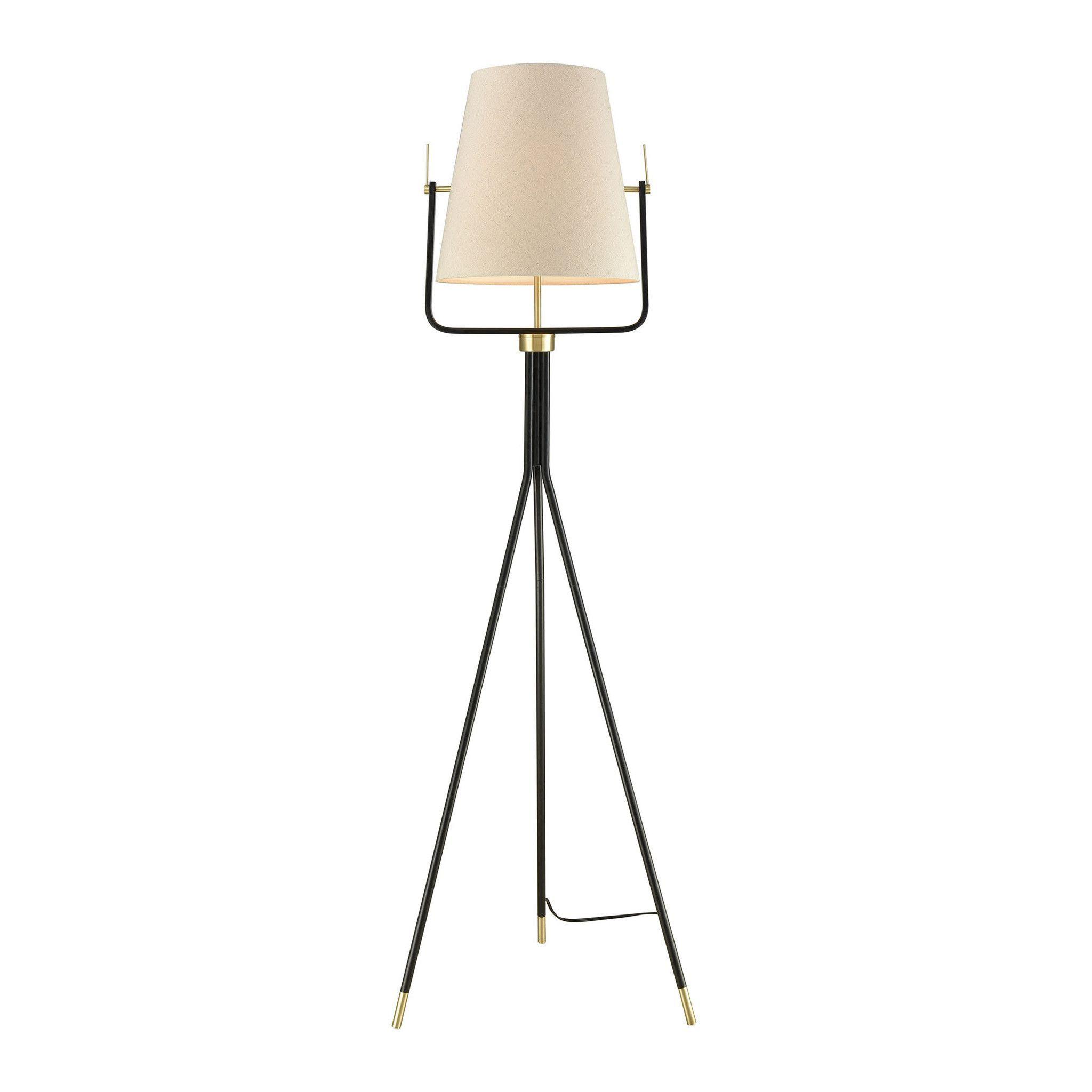 Cromwell 1Light Tripod Floor Lamp Black/Brass Black