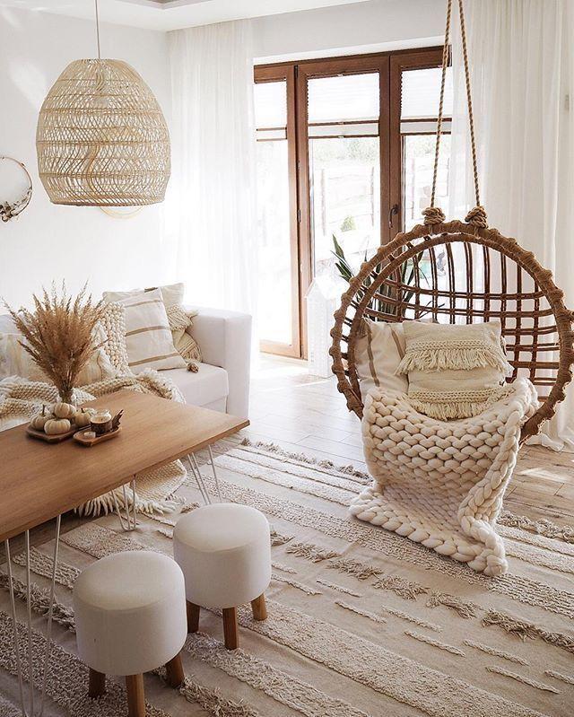 Meeks Wicker Hanging Swing Chair In 2020 Minimalist Living Room Decor Living Room Warm Minimalist Living Room