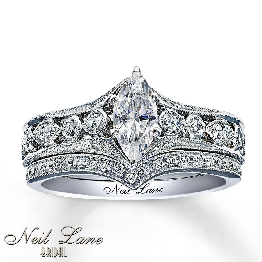 kay diamond bridal set 78 ct tw marquise cut 14k white gold