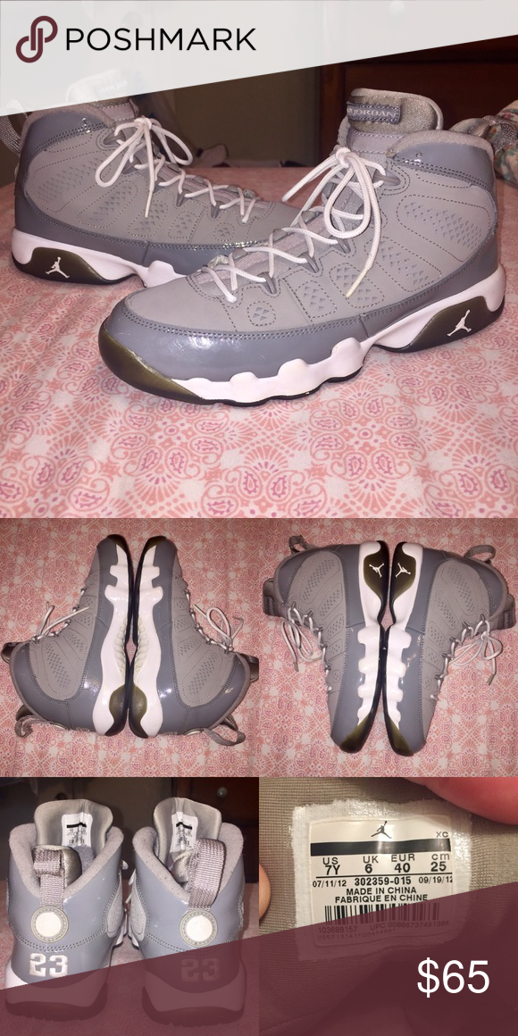 "87022fa88df Air Jordan 9 Retro ""Cool Grey"" size 7y — MEDIUM GREY/WHITE-COOL GREY — Size  7 youth or 9 women — 7/10 condition — Offers welcomed!"