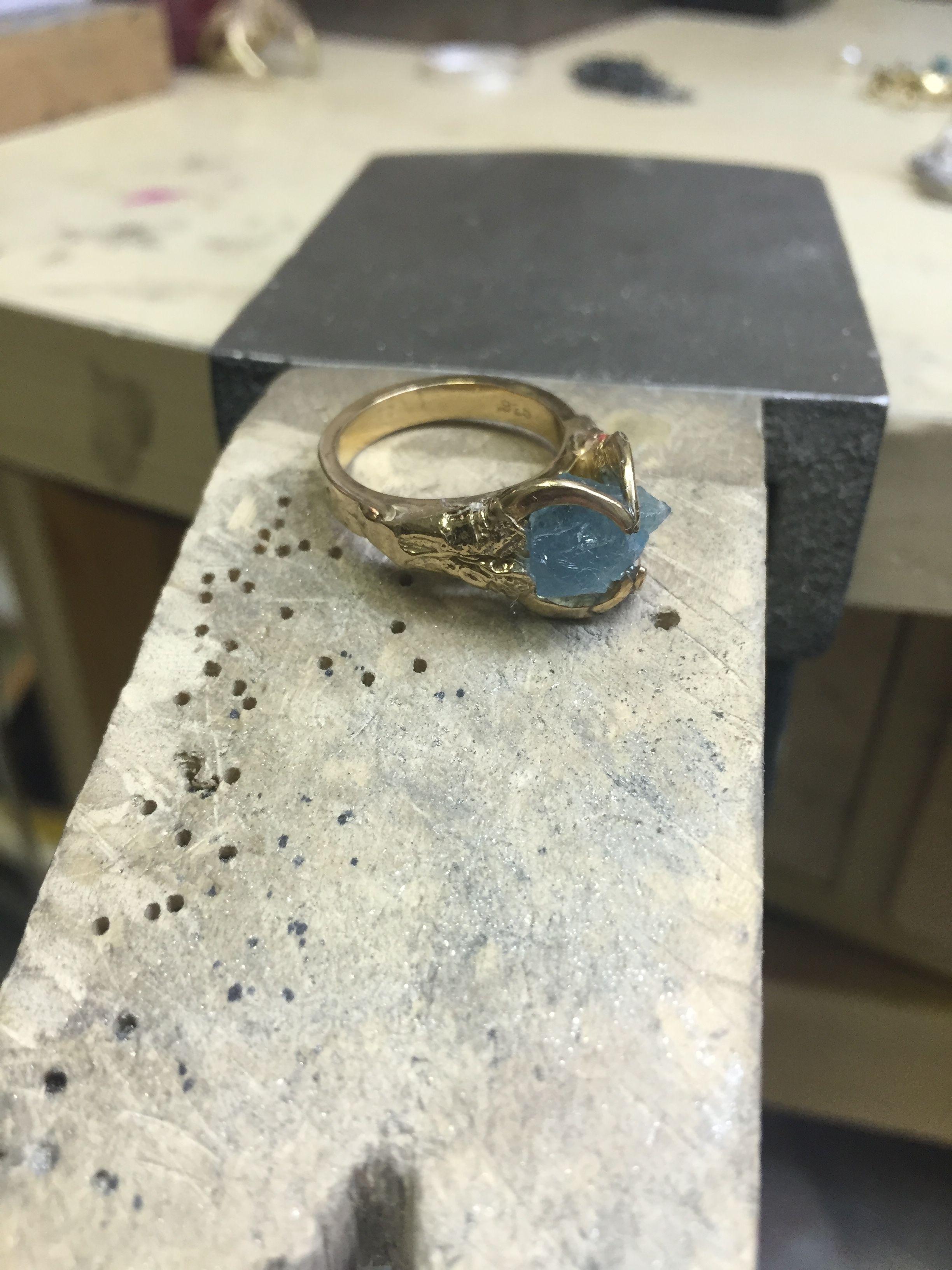Brigid ring with rough aquamarine