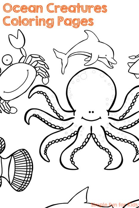 printables for kids fun with cute ocean creatures coloring pages - Cute Ocean Animals Coloring Pages