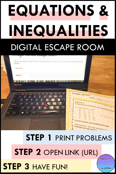 Solving MultiStep Equations and Inequalities Escape Room