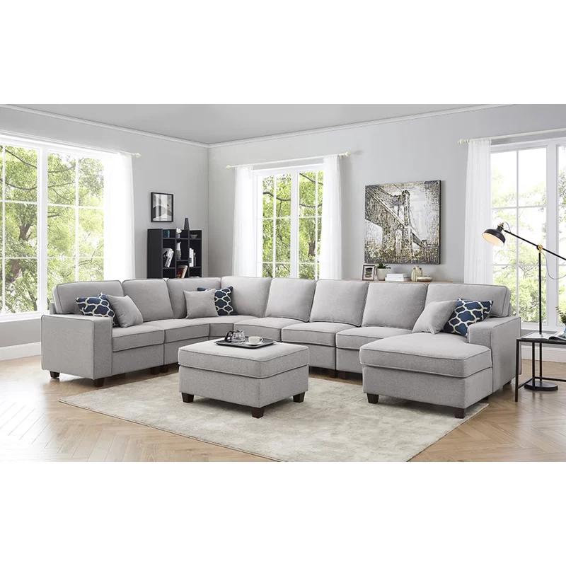 Littleness 149 5 Left Hand Facing Modular Corner Sectional With Ottoman In 2020 Modular Sectional Sofa Modular Sectional Grey Sectional Couch