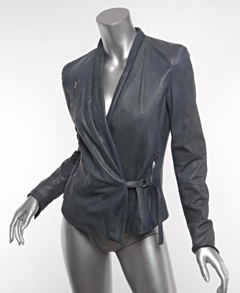 Helmut Lang Womens Grey Blue Distressed Lambskin Leather Wrap Jacket Coat S Nwot Lambskin Leather Lambskin Wrap Jacket