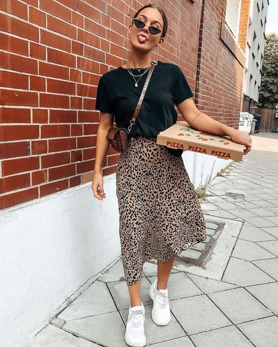 Saika Midi Skirt in Rar Leopard Brown by Motel – motelrocks-com-us