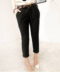 $8.55 Pockets Roll-up Cuffs Cotton Solid Color Pencil Pants For Women(With Random Belt)