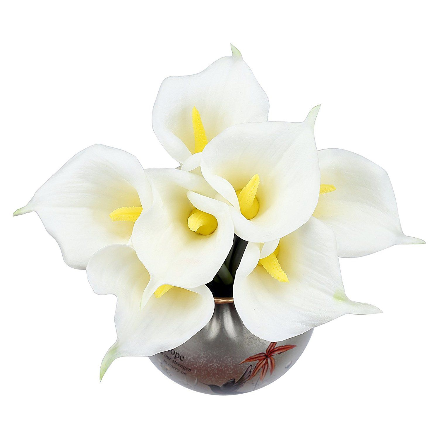 10pcs White Calla Lily Flower Latex Real Touch for Wedding Bouquet ...