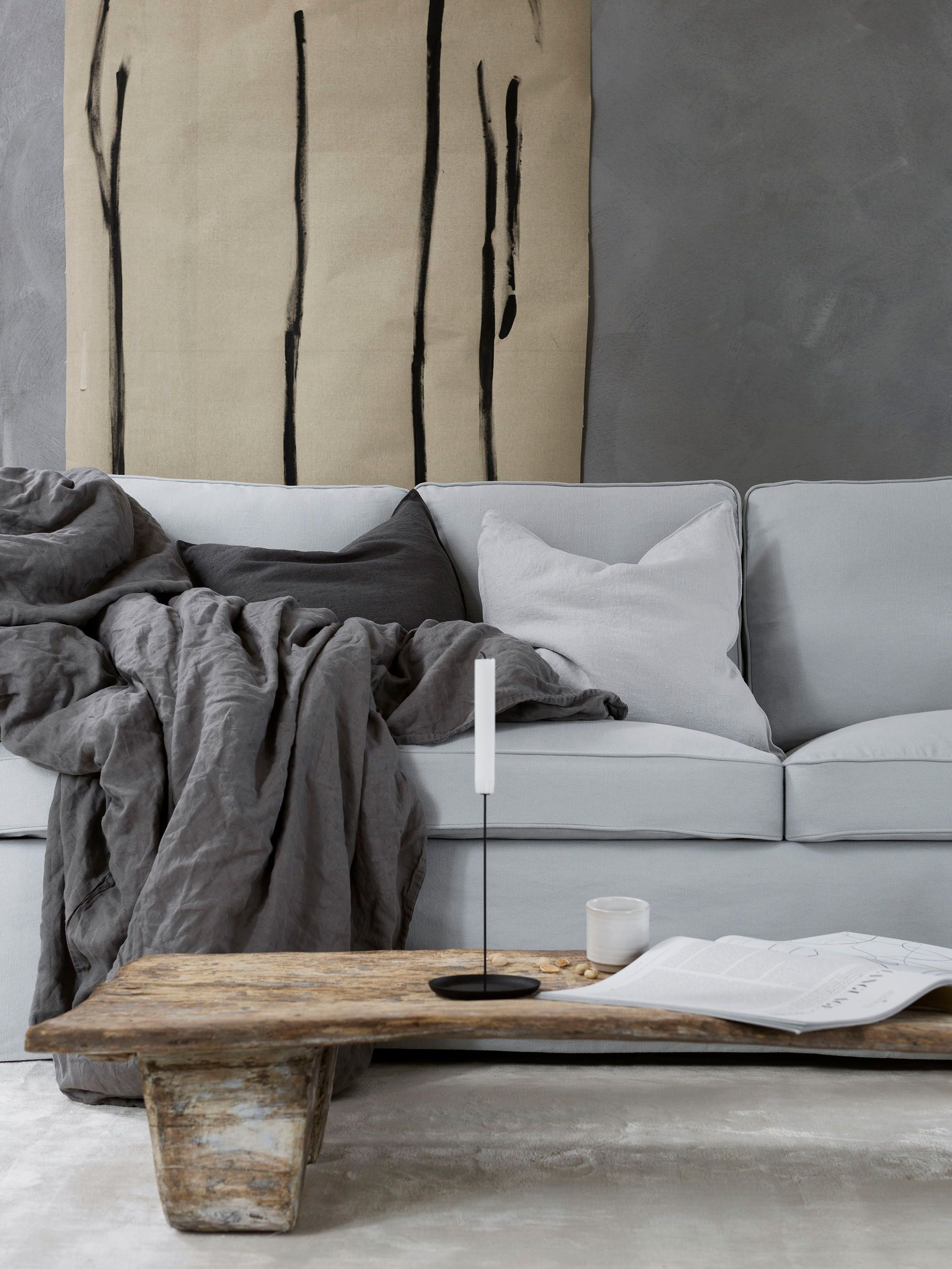 It S All In The Details Light Grey Sofa With Cushions And A Dark Grey Throw Rustic Wooden Coffee Table Ikea Affordable Sofa Ektorp Sofa Ikea Ektorp Sofa