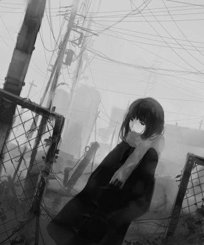 foto de Black and White sad anime Anime girl sad girl sad anime anime Pinterest Sad anime Sad