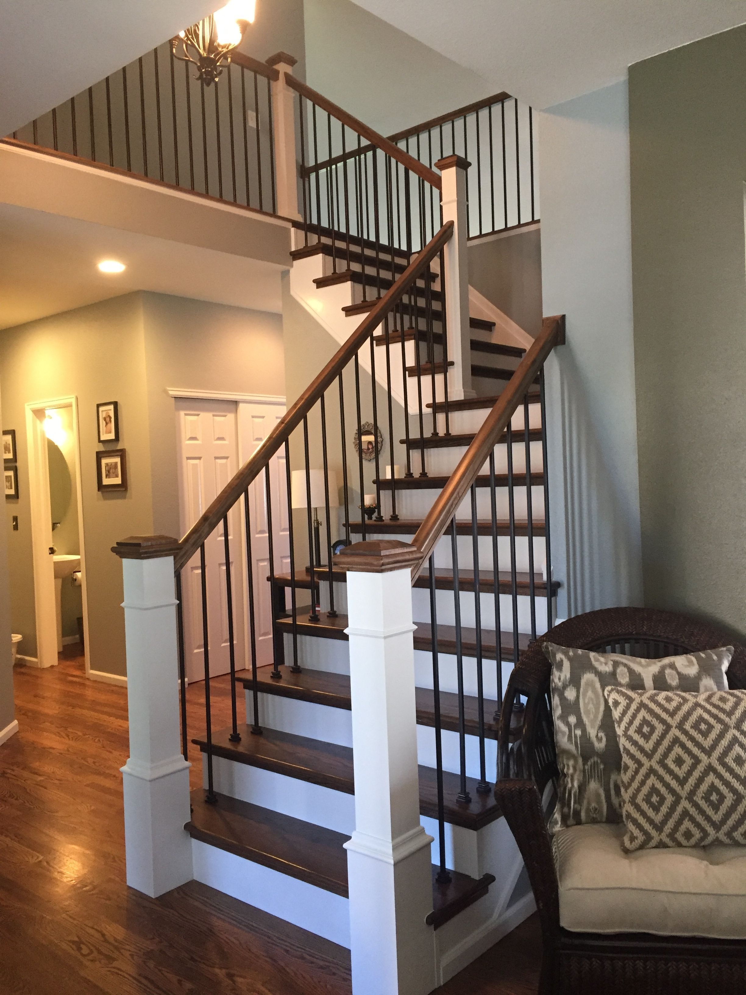 Best Modern Farmhouse Staircase Makeover Steps Red Oak With 640 x 480