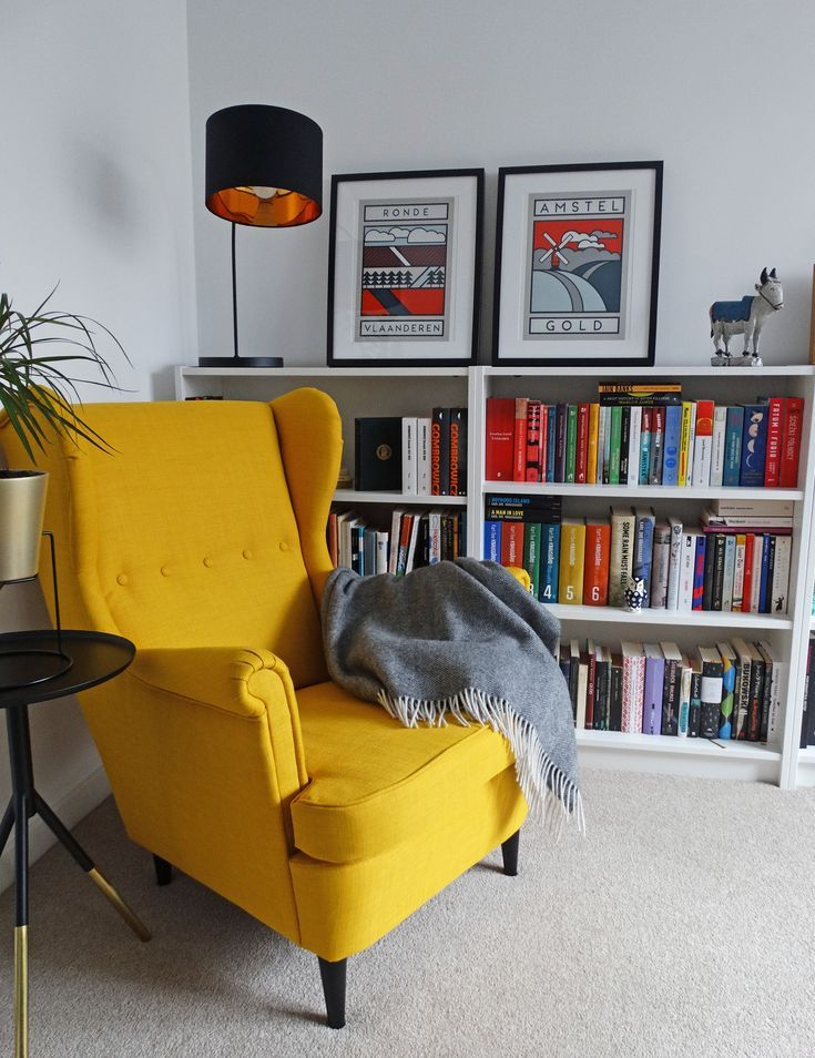 Reading spot / yellow armchair STRANDMON / books / home ...