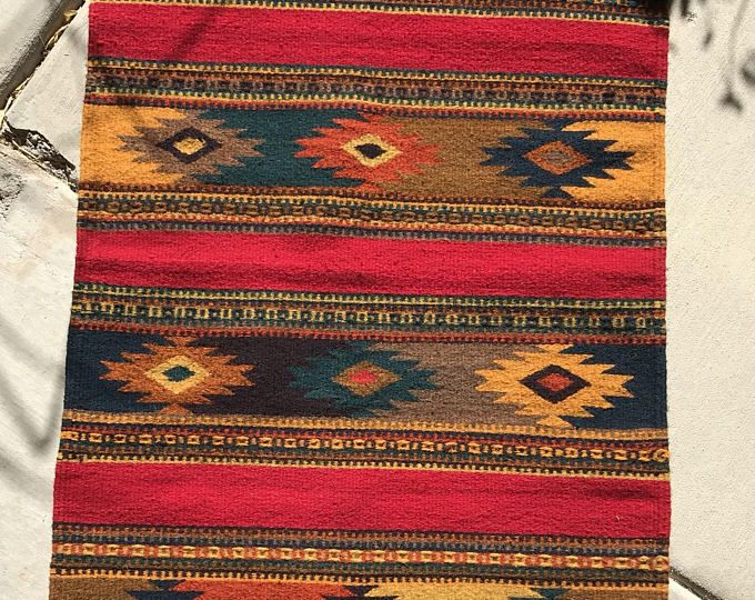 Zapotec Rug Mexican Woven Wool Runner Accent Southwest Style Red Modern Design Vintage