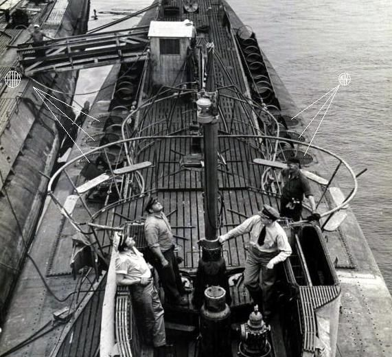 U-Boats ~ U-Boat 233 Minelayer (see pointers on right hand side of photo) ~ BFD