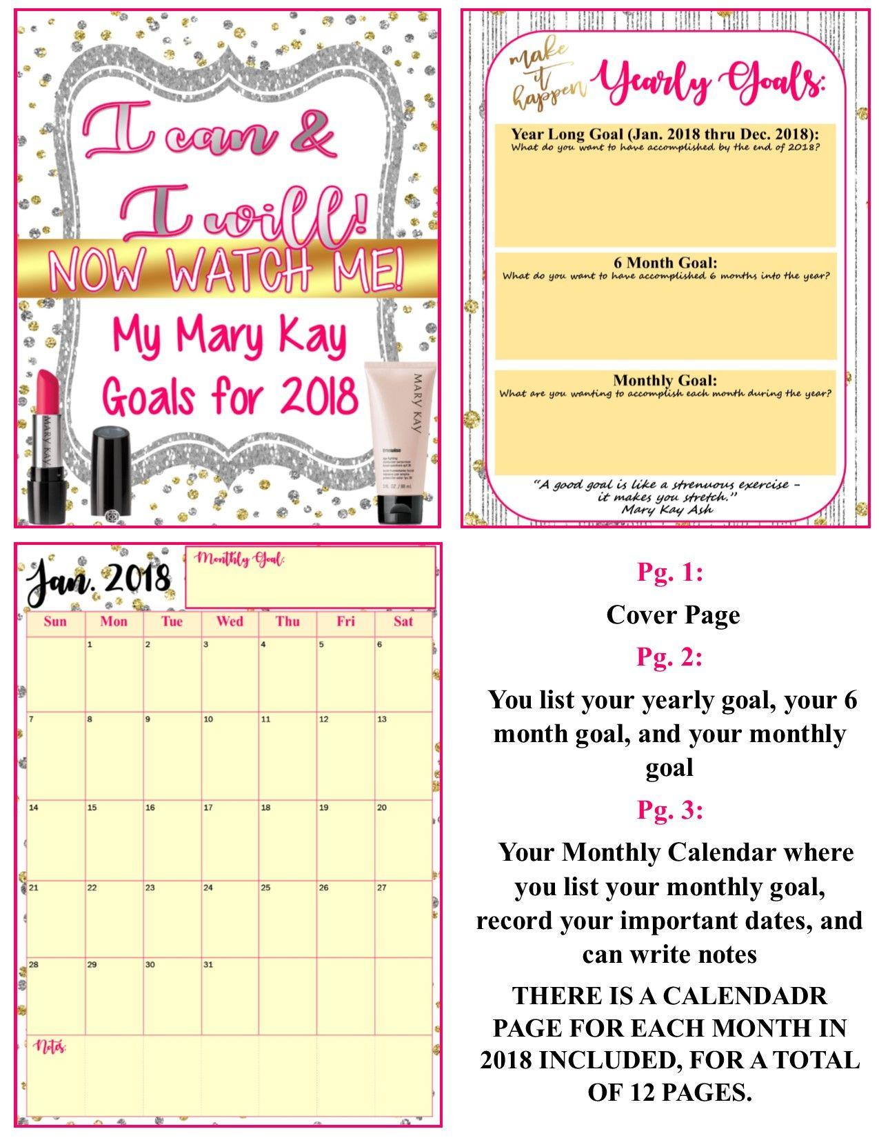 Freebie Mary Kay Editable Goal Planner