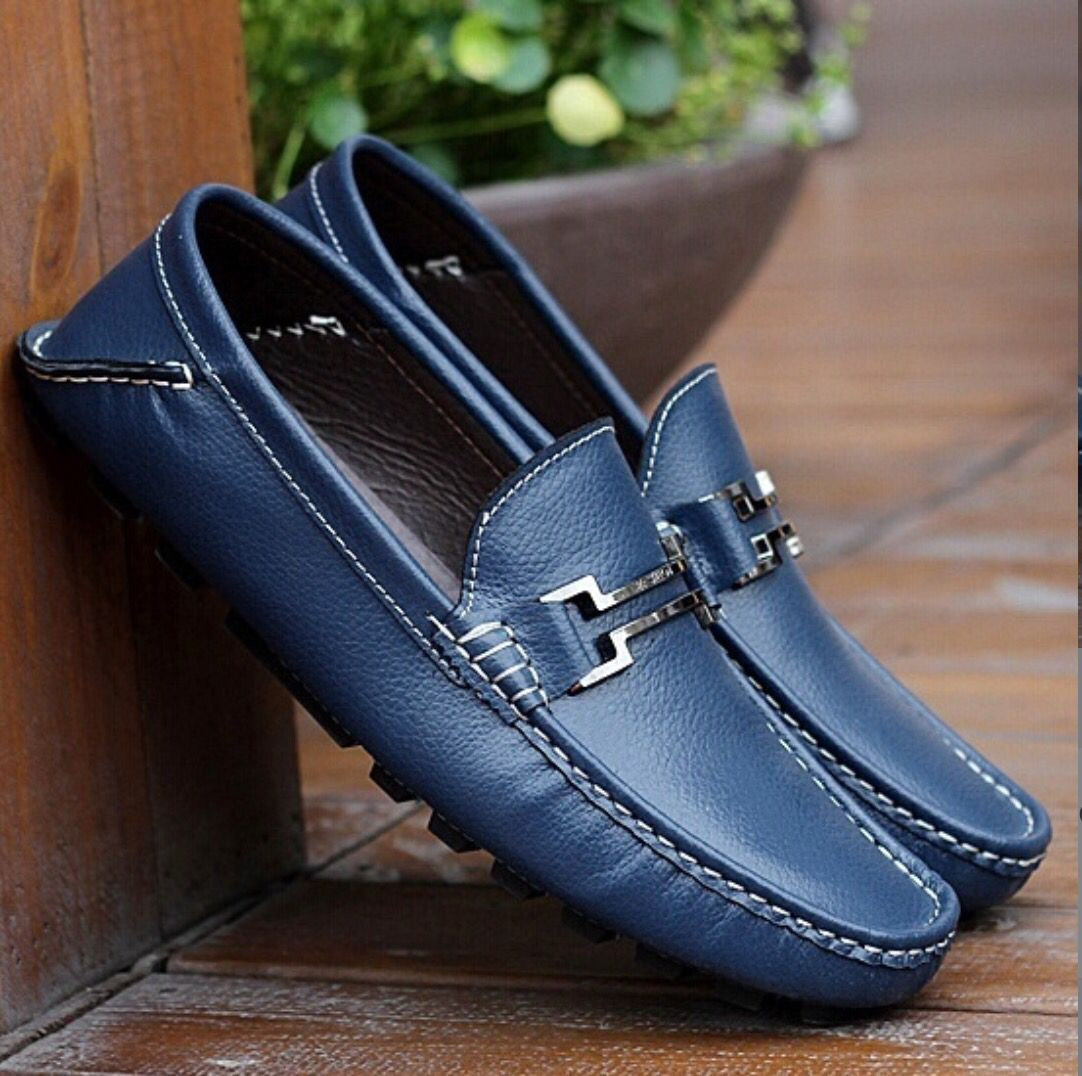 9e06dd54057 Blue Leather Loafers