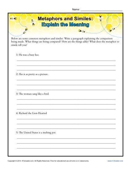 metaphors and similes simile worksheets fourth grade metaphors best free printable worksheets. Black Bedroom Furniture Sets. Home Design Ideas