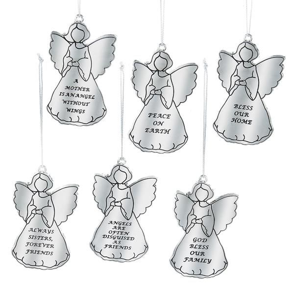 1 Set 6 Assorted Angel with Sayings Ornaments