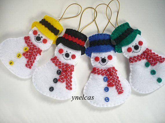ONE Ornament  Snowman handmade Christmas ornament  vintage