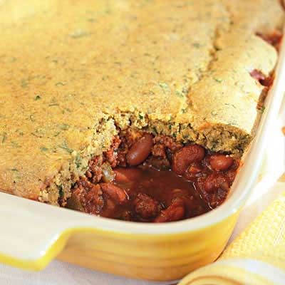 Chili Cornbread Casserole, made a version of this tonight with beef stew meat and black beans. Yum