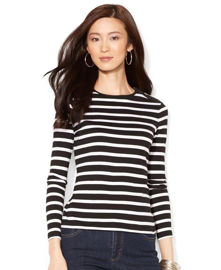 2b77e6140 Lauren Ralph Lauren Zipper-Shoulder Striped Top. Lauren Ralph Lauren  Zipper-Shoulder Striped Top Ralph Lauren Long Sleeve, Joes Jeans,