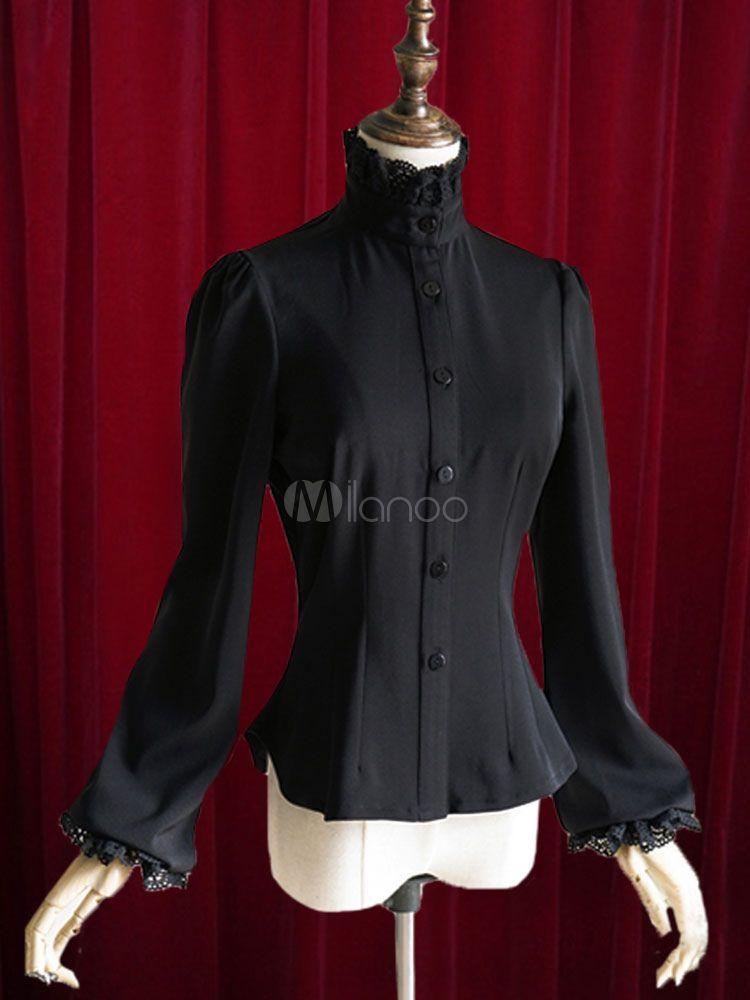 0751c9b2c9829 Black Lolita Blouse Bow Slim Fit Cotton Blouse for Women  Blouse ...