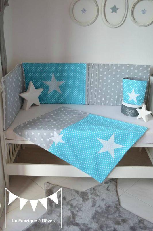 linge lit couverture bébé polaire coton bébé garçon turquoise gris