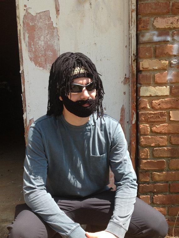Handmade Crochet Beard hat, beard beanie, black hat with black hair ...