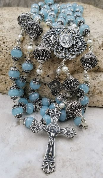 One of the kind Artisan Ornate Filigree Aquamarine Sterling Silver plated Handcrafted Rosary #rosaryjewelry