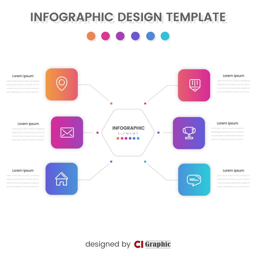 Infographic Element Design Template Gradient Colors In 2020 Infographic Design Template Infographic Design Template