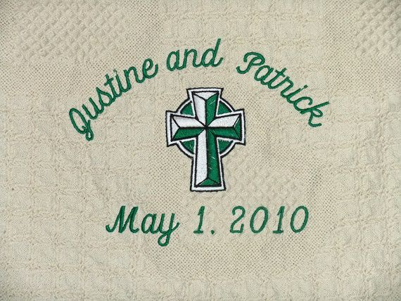 Irish Wedding Gift Celtic Cross Personalized Blanket Throw Embroidered