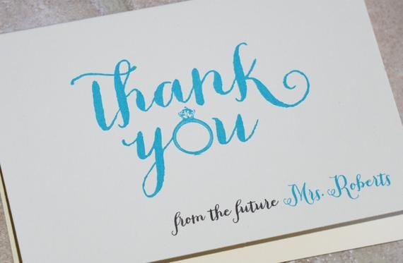 30 from the future mrs whimsical ring personalized bride to be bridal shower thank you note card
