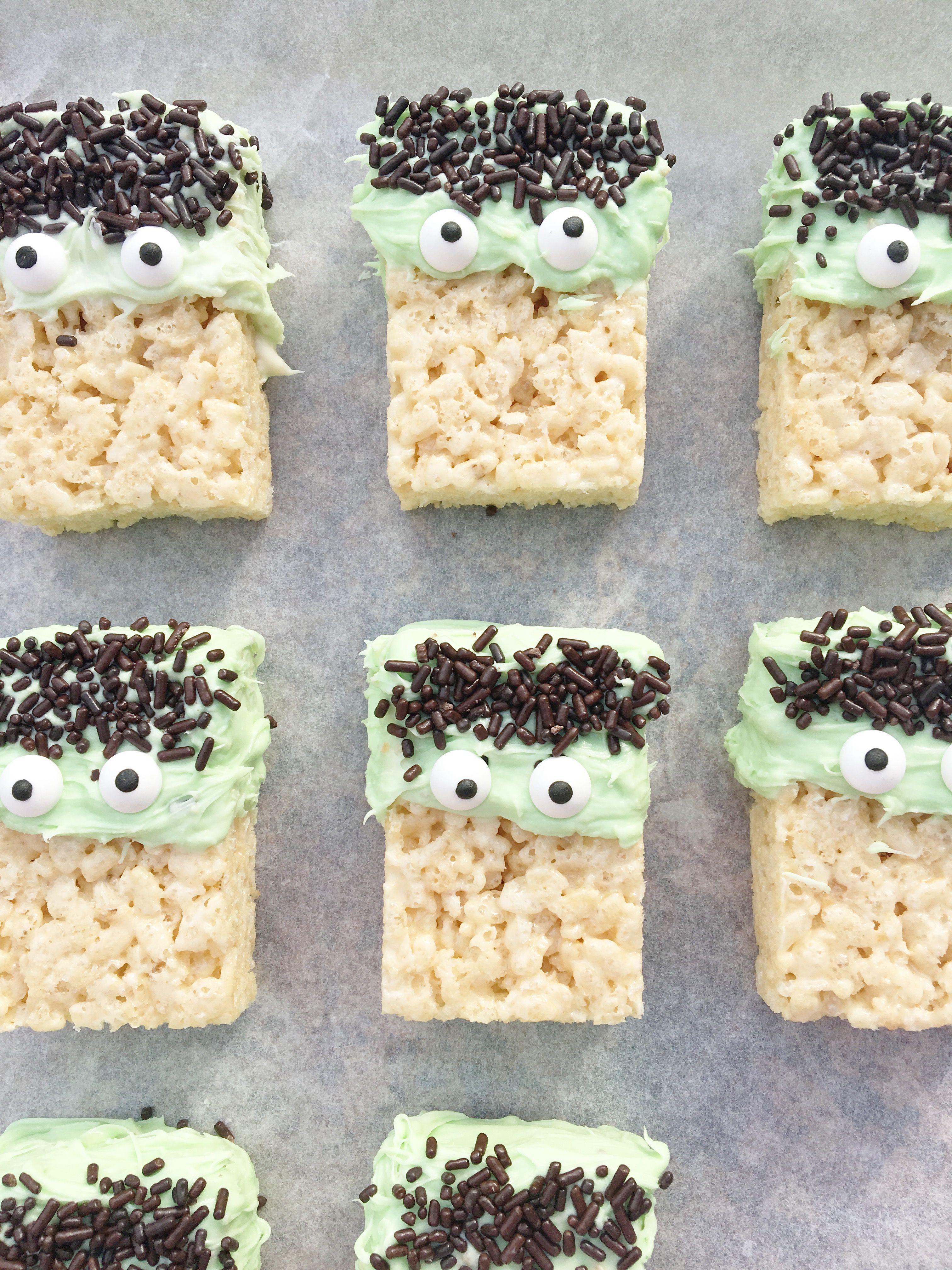 halloween frankenstein rice krispie treats halloween ideas halloween treats
