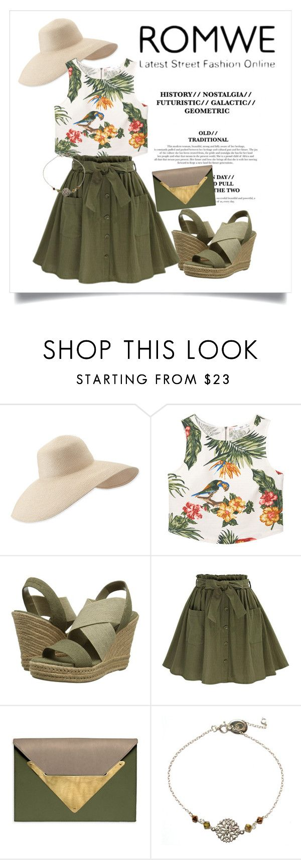 """""""olive green skirt contest"""" by andisasha ❤ liked on Polyvore featuring Eric Javits, MANGO, Lauren Ralph Lauren, Dareen Hakim and OSCAR Bijoux"""